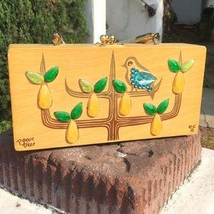 Handbags - Vintage wooden purse rhinestones Collins Texas